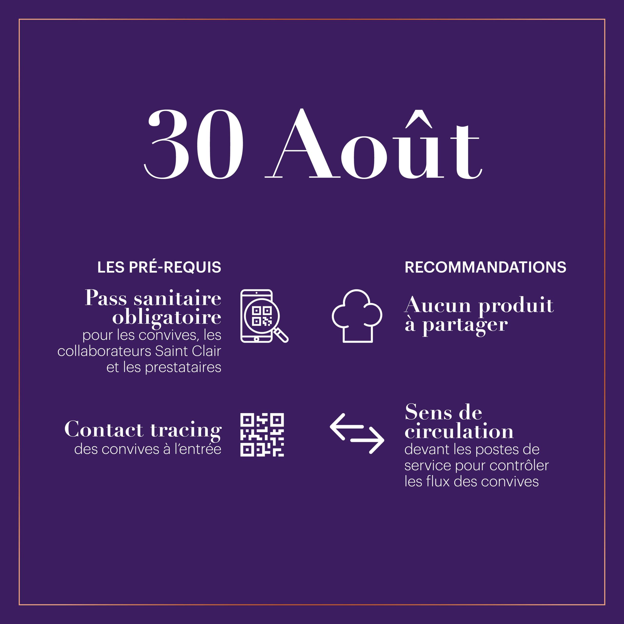 mesures sanitaires events 30 aout